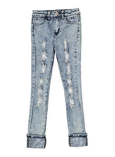 Girls 7-16 Destroyed Acid Wash Skinny Jeans,DENIM,large