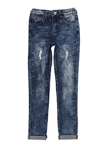 Girls 7-16 Distressed Roll Cuff Skinny Jeans,DENIM,large