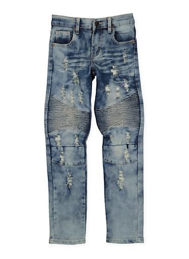 Girls 7-16 Distressed Moto Jeans,DENIM,large