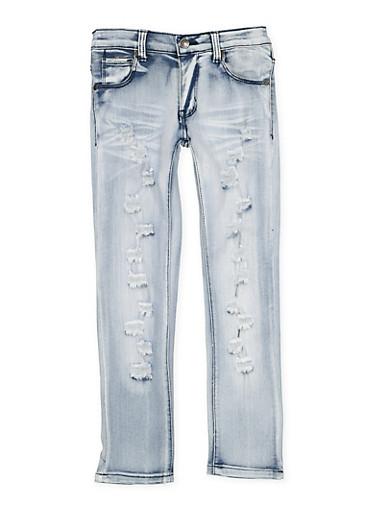 Girls 7-16 Whisker Wash Distressed Jeans,DENIM,large