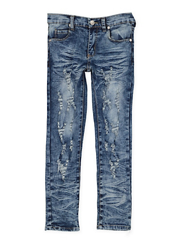 Girls 7-16 Distressed Whisker Wash Jeans,DENIM,large