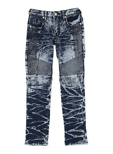 Girls 7-16 Acid Wash Moto Jeans,DENIM,large