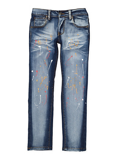 Girls 7-16 Paint Splatter Skinny Jeans,DENIM,large