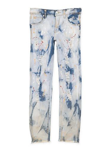 Girls 7-16 Paint Splatter Distressed Jeans,DENIM,large