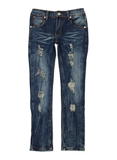Girls 7-16 Ripped Whisker Wash Jeans,DENIM,large