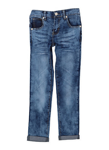 Girls 7-16 Whiskered Roll Cuff Jeans | Cloud Wash,DENIM,large