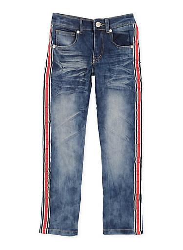 Girls 7-16 Whisker Wash Striped Tape Skinny Jeans,DENIM,large