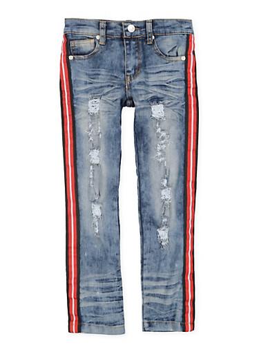 Girls 7-16 Striped Tape Distressed Jeans,DENIM,large