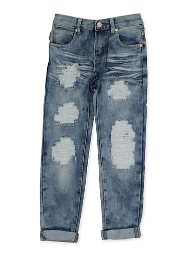 Girls 7-16 Ripped Antique Wash Jeans,DENIM,large
