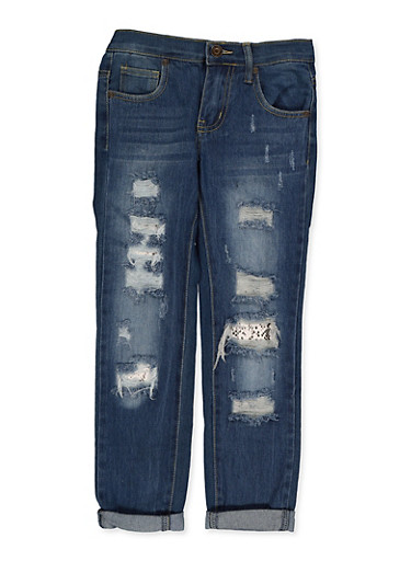 Girls 7-16 Snake Print Detail Rip and Repair Jeans,DENIM,large