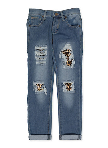 Girls 7-16 Leopard Patch and Repair Jeans,DENIM,large