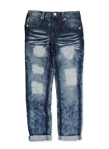 Girls 7-16 Distressed Whisker Wash Jeans | 3629063400074,DENIM,large