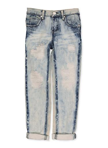 Girls 7-16 Distressed Acid Wash Jeans | 3629063400075,DENIM,large