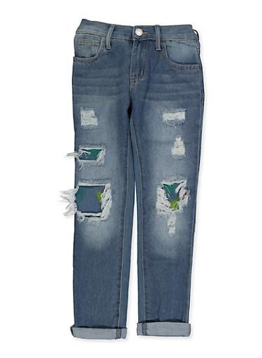 Girls 7-16 Paint Splatter Rip and Repair Jeans,DENIM,large