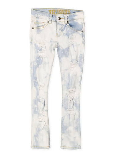 Girls 7-16 VIP Ripped Cloud Wash Jeans,LIGHT WASH,large