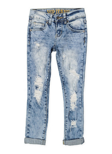 Girls 7-16 VIP Ripped Acid Wash Jeans,DARK WASH,large