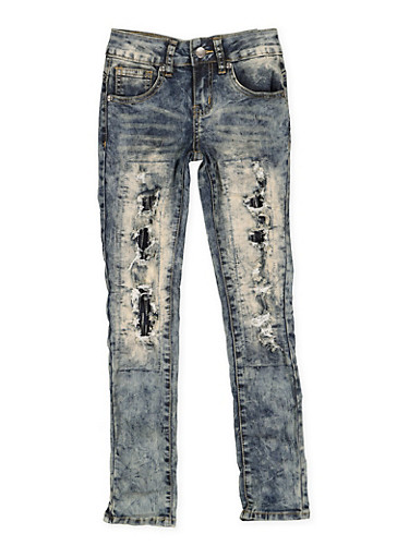 Girls 7-16 VIP Patch and Repair Jeans,DARK WASH,large