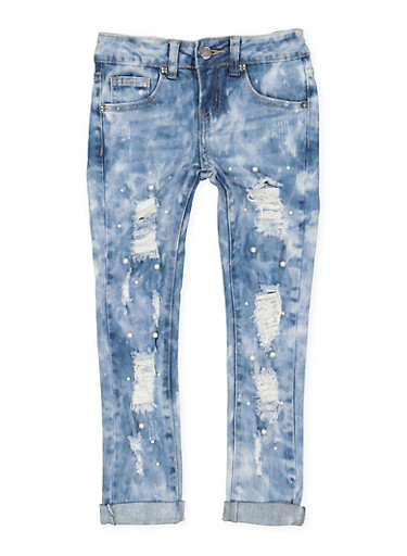 Girls 7-16 VIP Faux Pearl Studded Jeans,LIGHT WASH,large