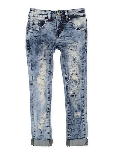 Girls 7-16 VIP Frayed Roll Cuff Jeans,DARK WASH,large
