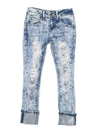 Girls 7-16 VIP Destruction Roll Cuff Jeans,DENIM,large
