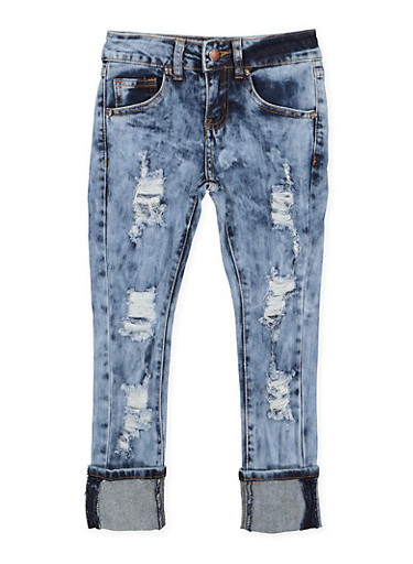 Girls 7-16 VIP Distressed Acid Wash Jeans,DARK WASH,large