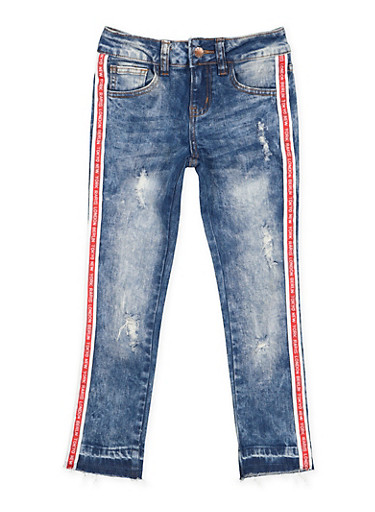 Girls 7-16 VIP Graphic Ribbon Trim Jeans,DENIM,large