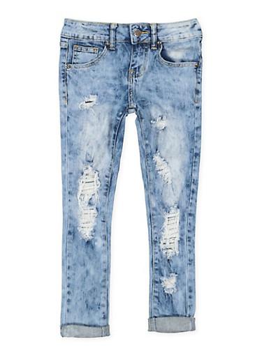 Girls 7-16 VIP Distressed Skinny Jeans,DARK WASH,large