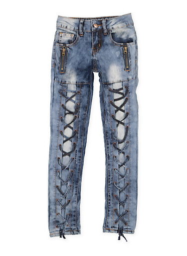 Girls 7-16 VIP Zip Lace Up Jeans,DENIM,large