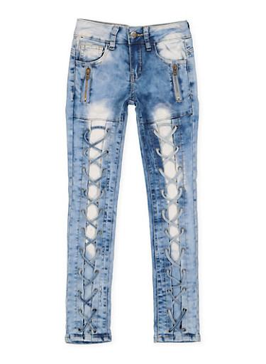 Girls 7-16 VIP Zip Lace Up Jeans,DENIM,large