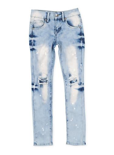 Girls 7-16 VIP Paint Splatter Patch and Repair Jeans,DENIM,large