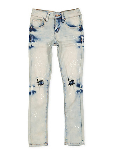 Girls 7-16 VIP Paint Splatter Jeans,DENIM,large