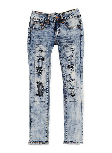 Girls 7-16 VIP Patch and Repair Jeans,LIGHT WASH,large