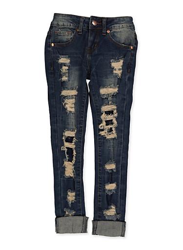 Girls 7-16 VIP Rip and Repair Cuffed Jeans,DENIM,large
