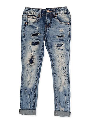 Girls 7-16 VIP Acid Wash Rip and Repair Jeans,DENIM,large