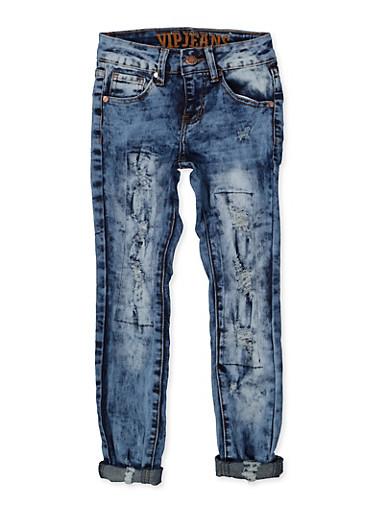 Girls 7-16 VIP Rip and Repair Frayed Jeans,DENIM,large