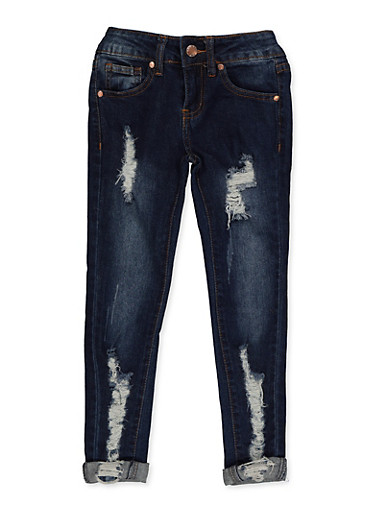 Girls 7-16 VIP Destroyed Roll Cuff Skinny Jeans,DENIM,large