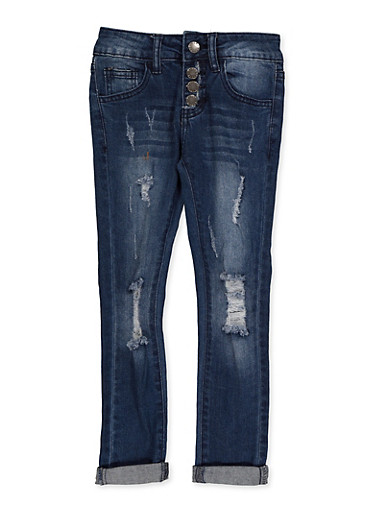 Girls 7-16 VIP 4 Button Ripped Jeans,DENIM,large