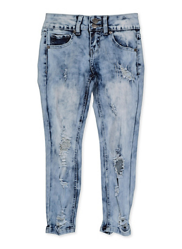 Girls 7-16 VIP Distressed 2 Button Skinny Jeans,DENIM,large