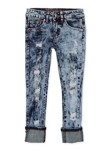 Girls 7-16 VIP Rolled Cuff Distressed Jeans,DENIM,large