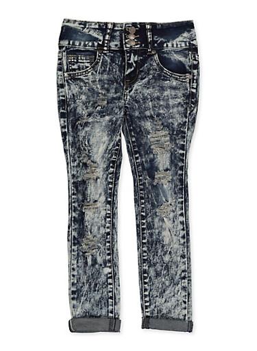Girls 7-16 VIP Destruction Jeans,DENIM,large