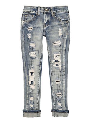 Girls VIP Rip and Repair Jeans,DENIM,large