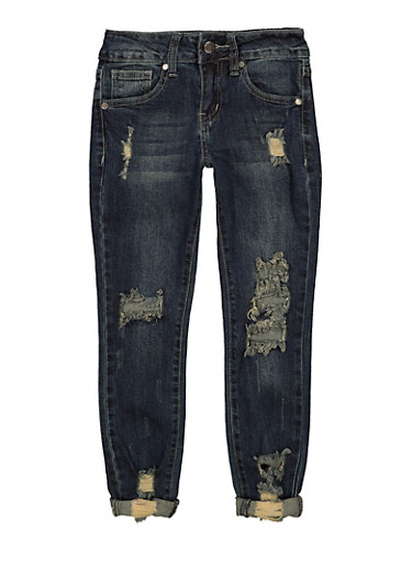 Girls VIP Ripped Rolled Cuff Jeans,DENIM,large