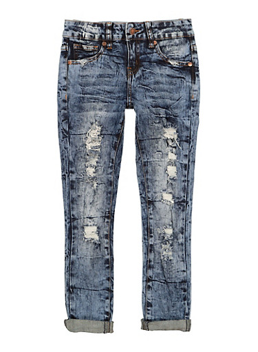 Girls VIP Distressed Straight Leg Jeans,DENIM,large