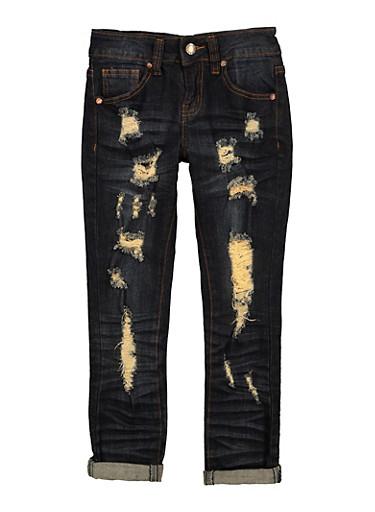 Girls VIP Whiskered Straight Leg Jeans,DENIM,large