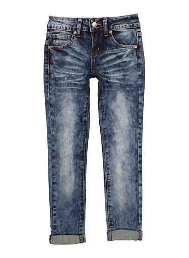 Girls VIP Whiskered Acid Wash Jeans,DENIM,large