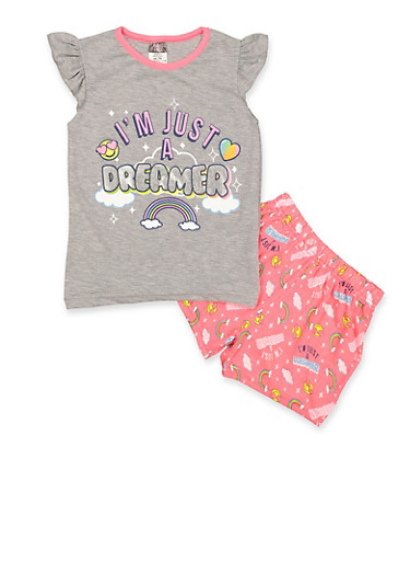 Girls 7-16 Im Just a Dreamer Pajama Top and Shorts Set,HEATHER,large