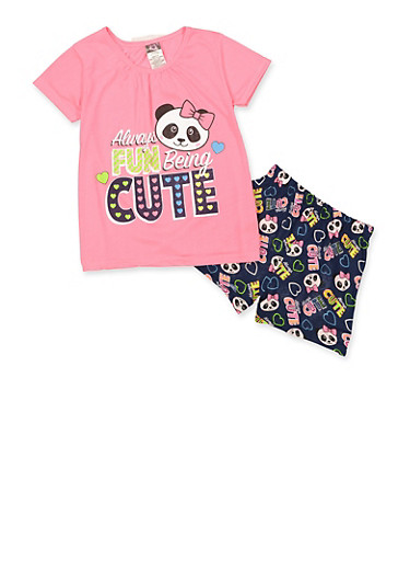 Girls 7-16 Always Fun Being Cute Pajama Tee and Shorts Set,FUCHSIA,large