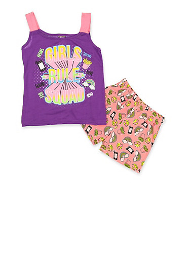 Girls 7-16 Girls Rule Squad Pajama Tank Top and Shorts Set,PURPLE,large