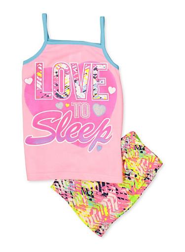 Girls 7-16 Love to Sleep Pajama Tank Top and Shorts Set,PINK,large