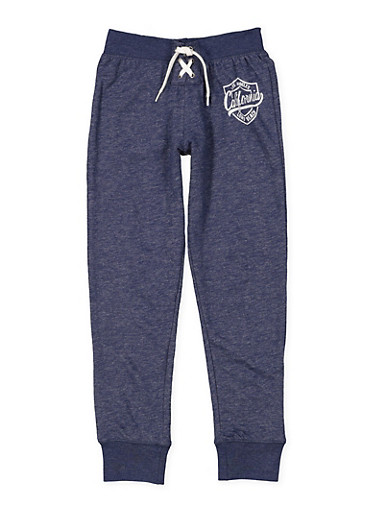 Girls 7-16 Graphic Lace Up Sweatpants,NAVY,large
